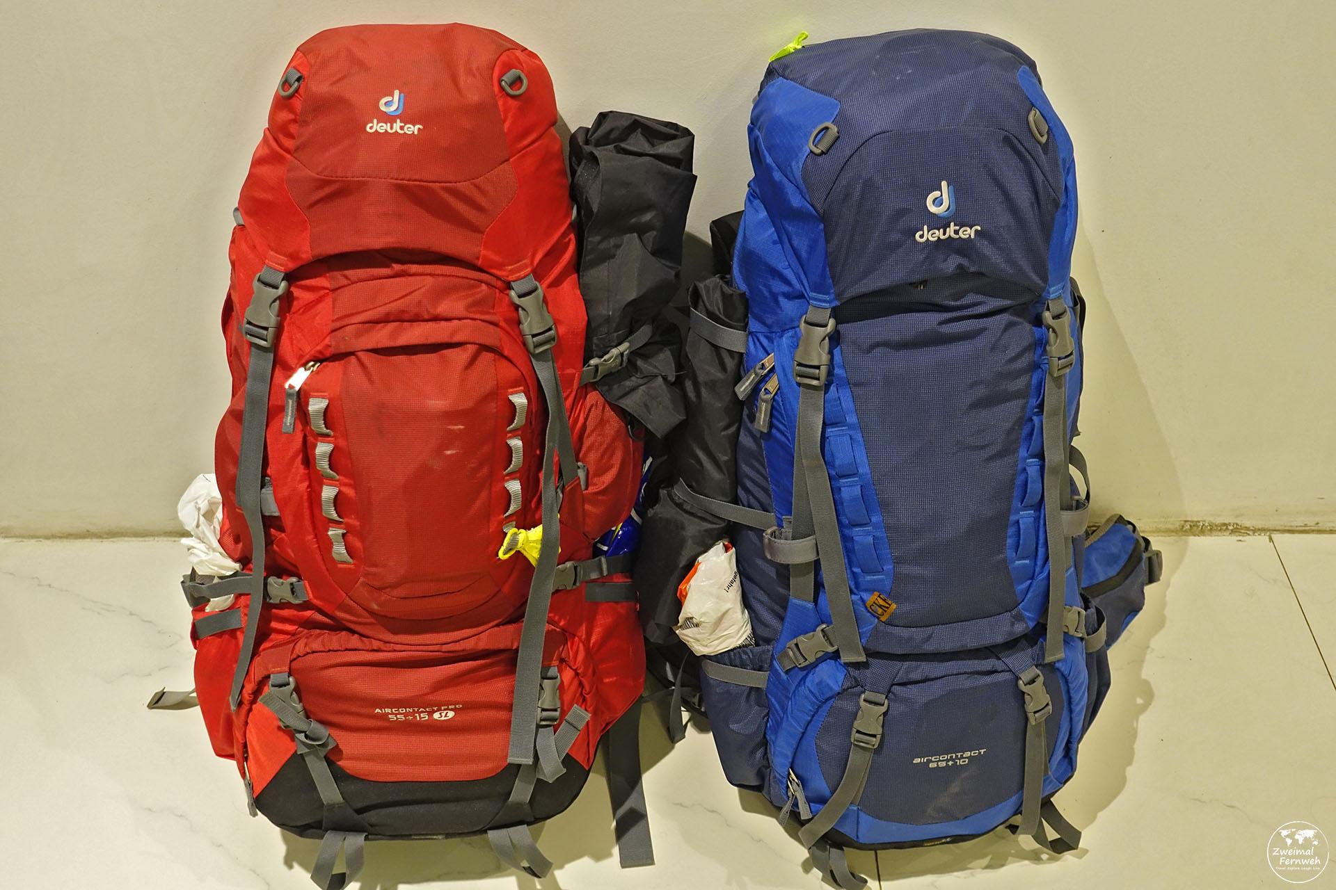 Unsere Backpacking Deuter Rucks loäcke, die wir auf unserer Weltreise dabei haben